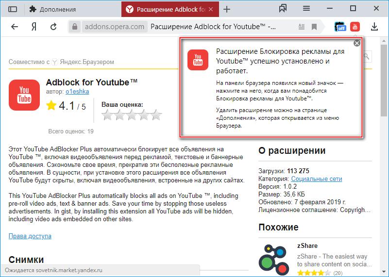 Информационное окно расширения Adblock for Youtube