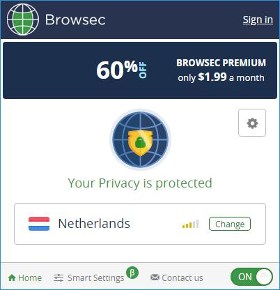 Интерфейс активного Browsec