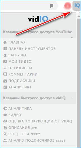 Меню VidIQ