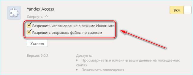 Настройки Yandex Access