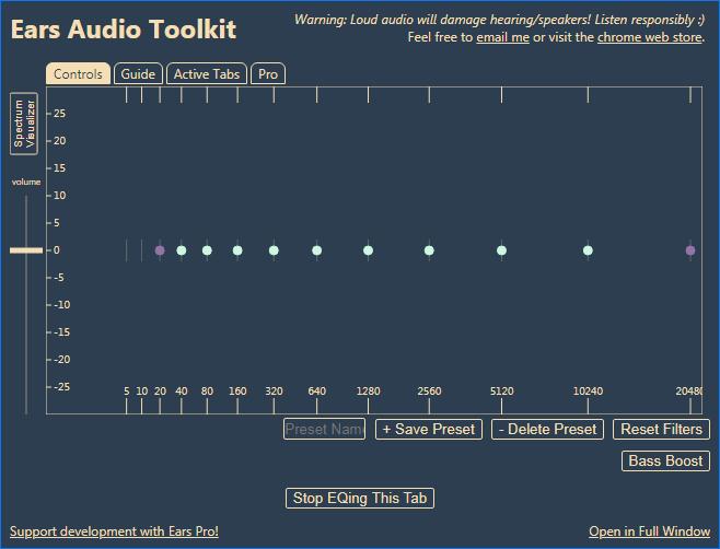 Расширение Ears Audio Toolkit