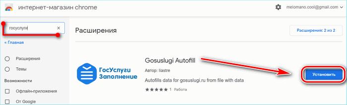 Скачивание расширения госуслуги из магазина Google