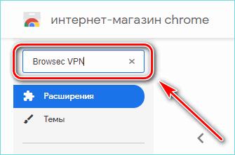 Ввод названия расширения в магазине Chrome