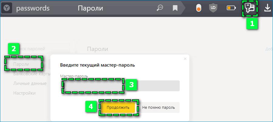 Открыть доступ к паролям в Яндекс Браузере
