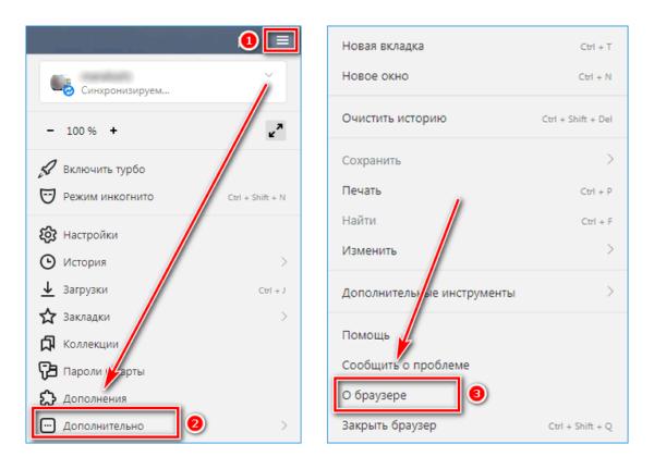 Пункт о браузере в Яндекс браузер
