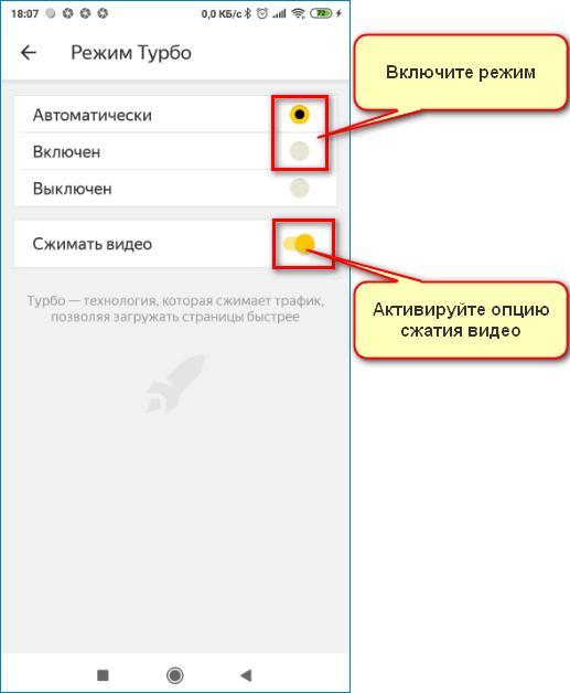 Турбо режим Yandex