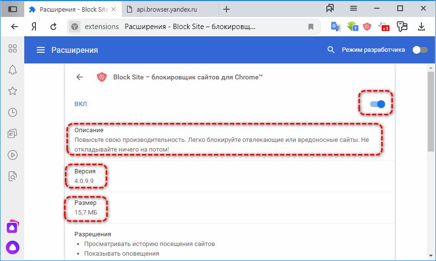 Дополнительные сведения Яндекс.Браузер
