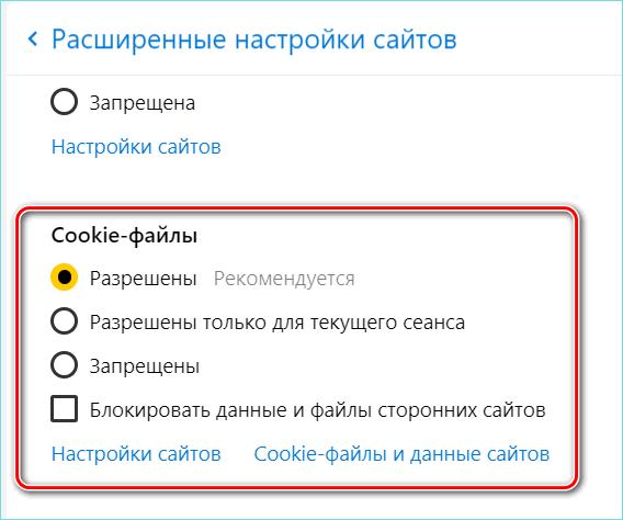 Куки файлы в настройках Яндекс браузера