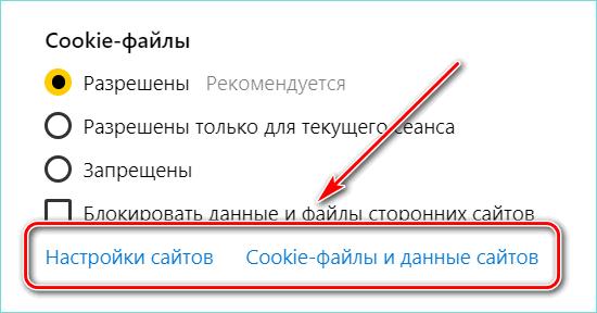 Настройка куки через параметры браузера
