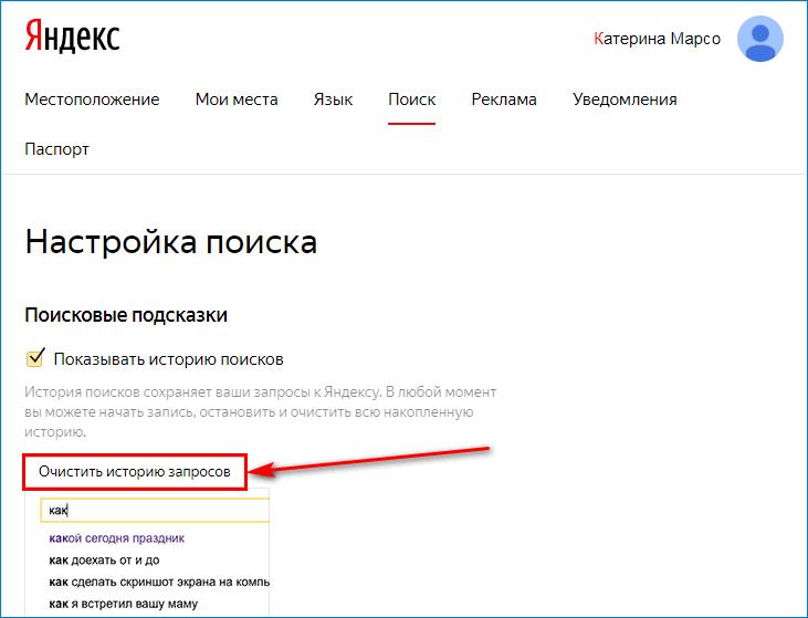 Нажать на кнопку «Очистить историю запросов» в Яндекс.Брауезере