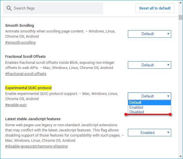 Отключение QUIC в Яндекс Браузере