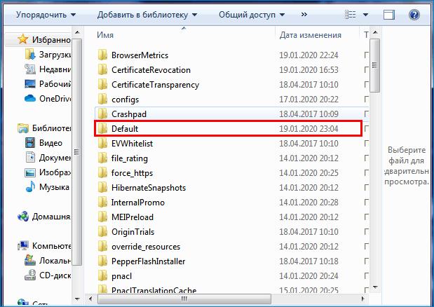 Открыть папку с названием Default в папке браузера Яндекс