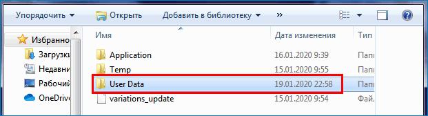 Перейти в UserData в папке браузера Яндекс