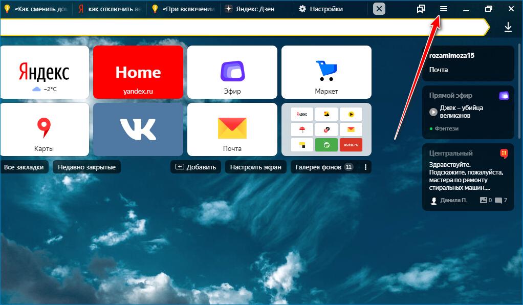 Раздел настроек в браузере Яндекс