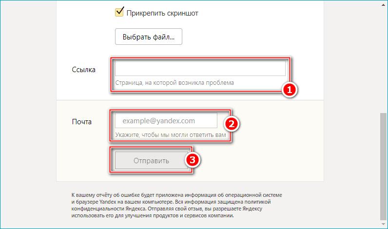 Дополнительные строки и кнопка отправки отчета в техподдержке Яндекс Браузера