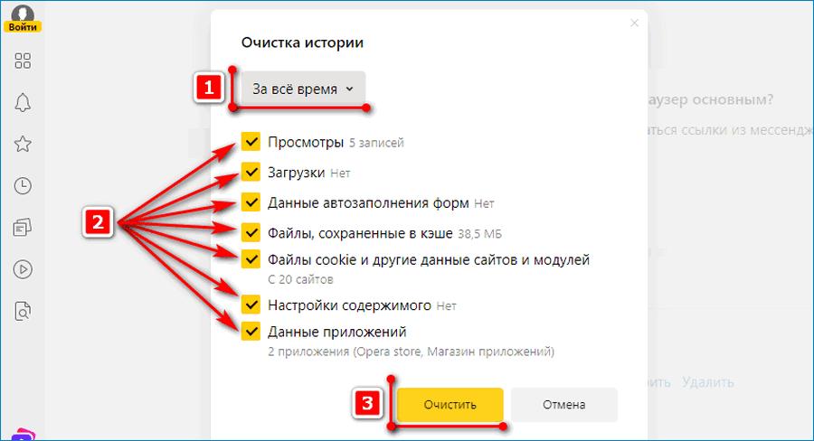 Действия по очистке Истории в Яндекс.Браузер