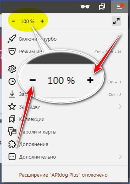 Масштабирование страницы в меню браузера