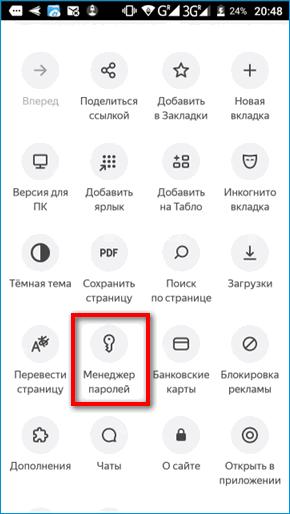 Менеджер паролей в меню Яндекс Браузера