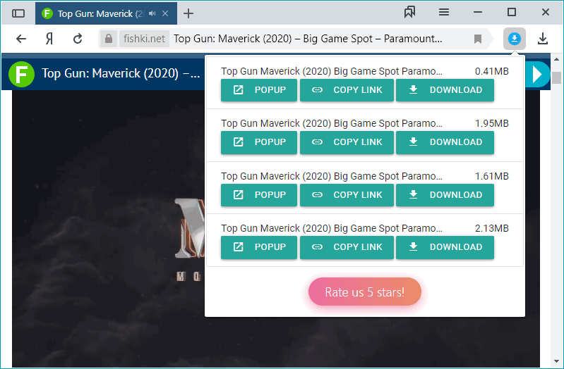 Работа расширения One Click Video Downloader