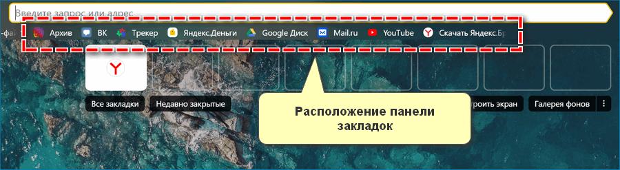 Расположение закладок в Яндекс Браузере