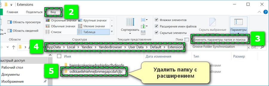 Удаление папки с расширением Яндекс Браузера