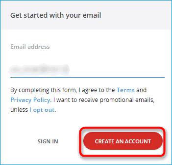 Ввод электронной почты для аккаунта LastPass